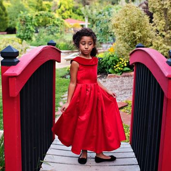 Red Amelia Classic Velvet & Satin Dress - Toddler, Girls & Juniors