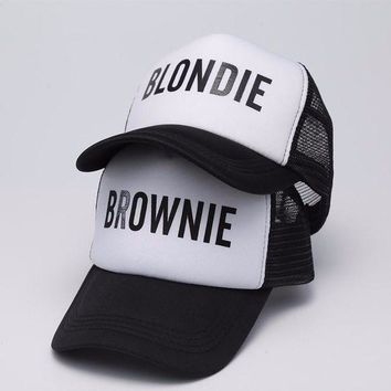 ESBG8W 2017 new BLONDIE BROWNIE Print Trucker Baseball Caps Polyester Women Gift For Her High Quality Bill Hip-Hop Snapback Hat Gorras