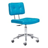 Series Office Chair Blue Chromed Steel