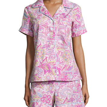 Floral-Print Classic Short Pajama Set, Pink Paisley, Size:
