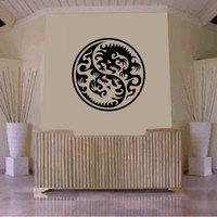 Tribal Yin Yang Dragon Decal Sticker Wall Decal Art Asian