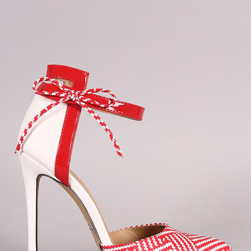 Raffia Print Bow Ankle Strap Stiletto Pump