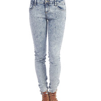 Acid Wash High Waisted Skinny Jeans | Wet Seal