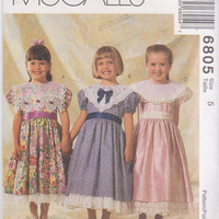 Pattern for special occasion, party dress from Alicyn Exclusives with lace collars and trimmed underskirt girls size 5 McCall's 6805 UNCUT