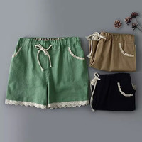Summer Korean Stylish Elegant With Pocket Cotton Linen Casual Pants Shorts [6034466113]