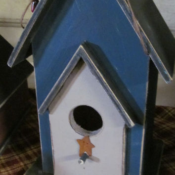 Rusty Star Primitive Birdhouse in Prim Blue  Rustic Birdhouse Decor Country Decorative Birdhouse
