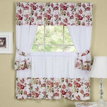 Ben&Jonah Collection Wisteria Embellished Cottage Window Curtain Set - 58x36 Tailored Tier Pair/58x36 Tailored Topper with attached swaggers and tiebacks. - Rose