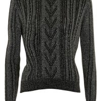 Topshop Metallic Cable Knit Sweater | Nordstrom