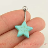 belly ring,turquoise star Belly Button Rings, turquoise belly button jewelry,blue Navel Jewelry,friendship bellyring
