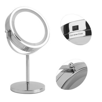 Double Side Vanity Makeup Mirror LED Lighted Tabletop 5X Magnifying Cosmetic - Walmart.com