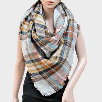 Plaid Check Knit Fringed Trim Blanket Scarf - Grey & Yellow