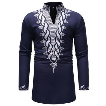 Navy and Silver Mens Hipster African Dashiki Longline Shirt
