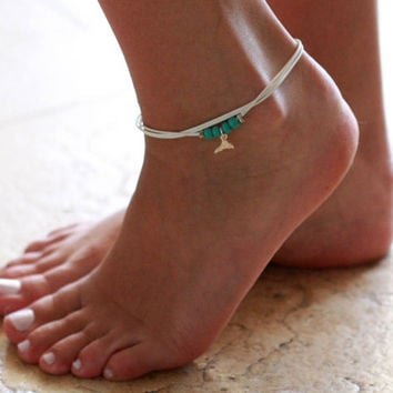 White Anklet - Multistrand Ankle Bracelet - Silver Anklet - Foot Jewelry - Foot Bracelet - Chain Anklet - Summer Jewelry - Beach Jewelry