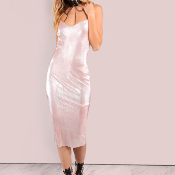 Pleated Spaghetti Strap Metallic Bodycon Dress