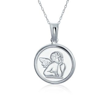 Angel Pendant Round Religious Disc Necklace Communion Sterling Silver