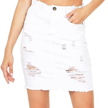 Moto Distress Denim Skirt
