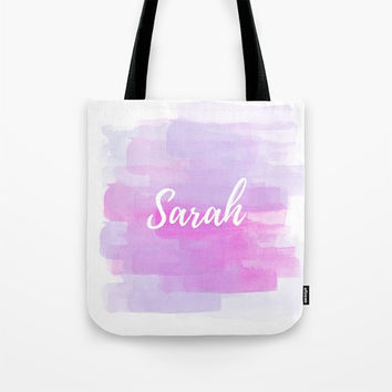 Personalized Bag, Custom Tote Bag, Pink and Purple, Reusable Tote, Bridesmaid Tote, Watercolor Art, Typography Bag, Brush Lettering Script