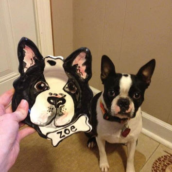 Custom Boston Terrier portrait Dog Bowl personalized free any dog pottery dish