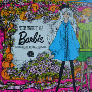 Vintage World of Barbie Double Doll Case, 1968 Mattel Inc, Flower Power Wardrobe Trunk, Excellent Condition