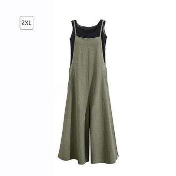New Summer Women Casual Solid Wide Belt Leg Pants Pockets Romper Bib Overalls Jumpsuit Loose Cotton Linen Overalls