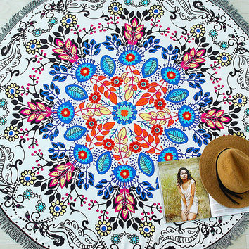 Multicolor Floral Print Round Beach Blanket
