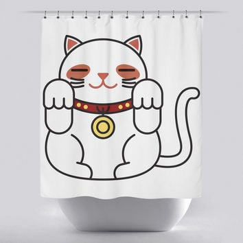 Unique Shower Curtain - Lucky Cat in white by Miguel Avila