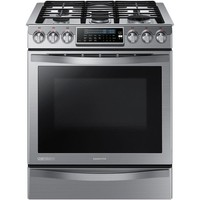 Samsung Chef Collection 30 in. 5.8 cu. ft. Slide-In Gas Range with Self-Cleaning Convection Oven in Stainless Steel-NX58H9950WS - The Home Depot