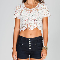 Full Tilt Womens Crochet Crop Top White  In Sizes