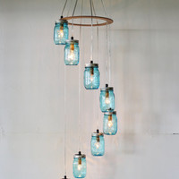RAINDROPS Mason Jar Chandelier - Upcycled Hanging Lighting Fixture - Spiral Waterfall Mason Jar Lights - BootsNGus Lamp Design