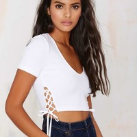 Nasty Gal Take Sides Ribbed Crop Top