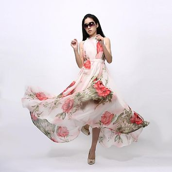 XL Plus Size Summer Dress Women 2017 Sexy Boho Long Maxi Dresses Casual Floral Beach Long Chiffon Dress Halter Neck Sundress