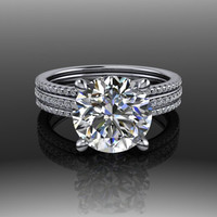 Forever Brilliant Moissanite and Diamond Engagement Ring 3CT