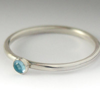 Tiny Swiss Blue Topaz Ring - Stackable  Silver  Ring - 3mm gem