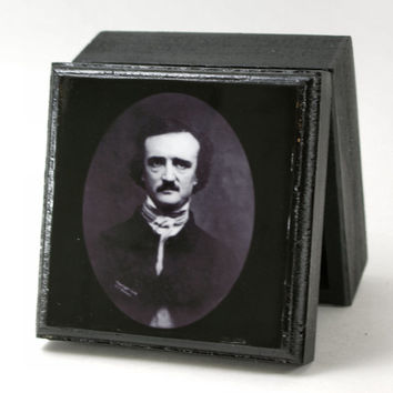 Edgar Allen Poe Famous Poets Small Trinket Box Jewelry box Stash Box