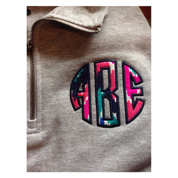 Monogram Lilly Pulitzer chevron appliqué 1/4 zip sweatshirt
