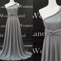 Gray Floor Length Infinity Dress Convertible Wedding Bridesmaid Evening Party Prom Dress Plus Size Woman Dresses