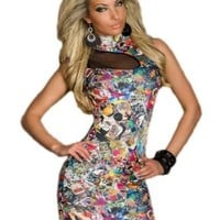 13710 - AYANAPA: SEXY Stretch Mini Dress COLLAGE Style, multicoloured