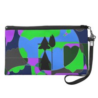Retro Halloween Witch Abstract Wristlet Clutches