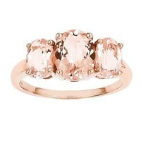 Oval Morganite Three Stone Ring in 14K Rose Gold - Size 7