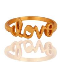"18K Yellow Gold-Plated Sterling Silver Cursive Style ""Love"" Band Ring"