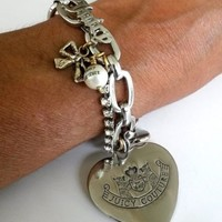 Juicy Couture Charm Bracelet Heart Silver Tone 7-3/8""