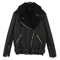 Fur Collared Biker Jacket with Buckle & Zip Detail
