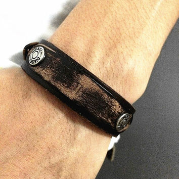 Real Brown Soft Leather DIESEL Bracelet Women's Leather Bangle Bracelet, Men's Leather Cuff Bracelet, Unisex Leather Bracelet  CB7