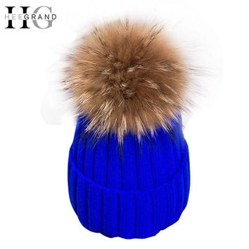 DCCKJG2 HEE GRAND 2016 Winter Wool Knitted Beanies Caps Fashion Women Fur Pompom Beanie Hats Red Thick Christmas Hats For Women  PMM301