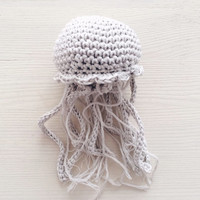 Crochet Jellyfish Amigurumi White Christmas Ornament Kids Room Decor