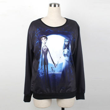 Corpse Bride Long Sleeve Round Neckline Sweatshirt T-shirts