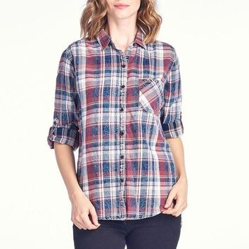 Red Plaid Button Up Cotton Shirt