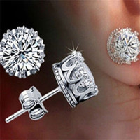 1Pair Women's 925 Sterling Silver Royal Crown Ear Stud Earrings Jewelry  (Color: Silver) = 1741710788