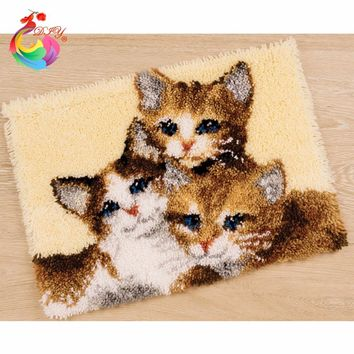 Hook Rug Kit DIY Unfinished Crocheting Yarn Mat Latch Hook Rug Kit Pillows Carpet Set printing Canvas Cats carpets and rugs