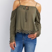 Crochet-Trim Cold Shoulder Top